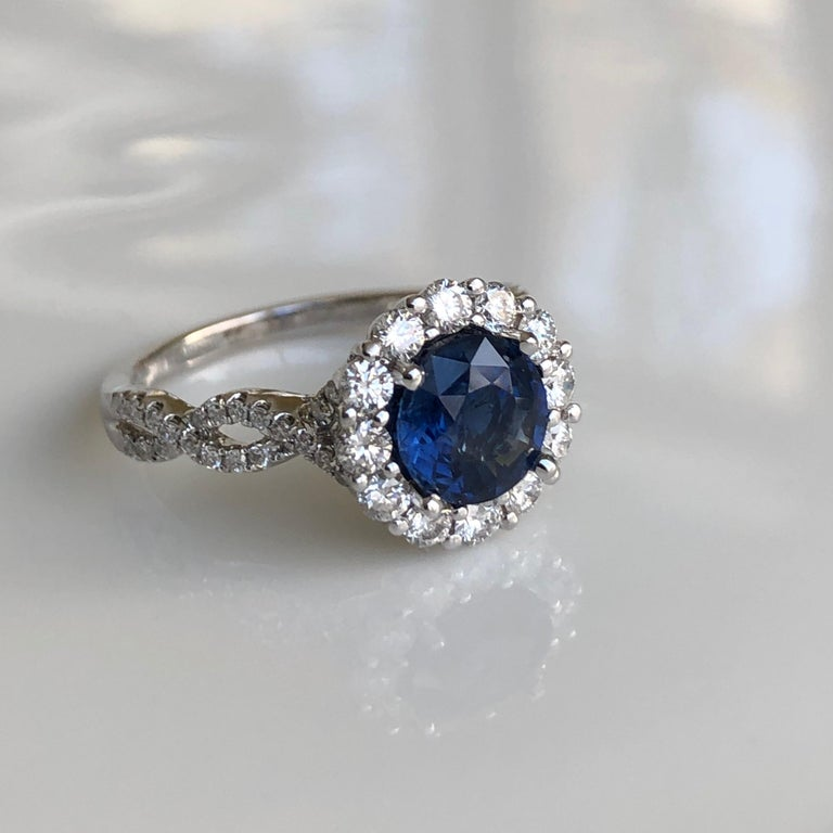 2.20 Carat Sapphire Diamond Halo Engagement Ring 18 Karat White Gold In New Condition For Sale In Brunswick, ME