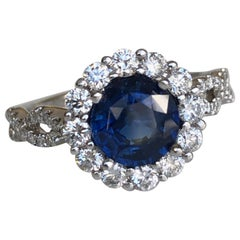 2.20 Carat Sapphire Diamond Halo Engagement Ring 18 Karat White Gold