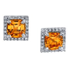 2.20 Carat Spessartite Garnet and Diamond 18 Karat White Gold Stud Earrings