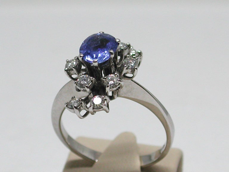 2.20 Carat White Gold Diamond Sapphire Engagement Ring For Sale 4