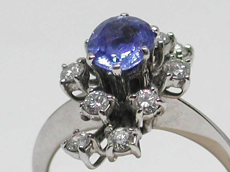 2.20 Carat White Gold Diamond Sapphire Engagement Ring For Sale 5
