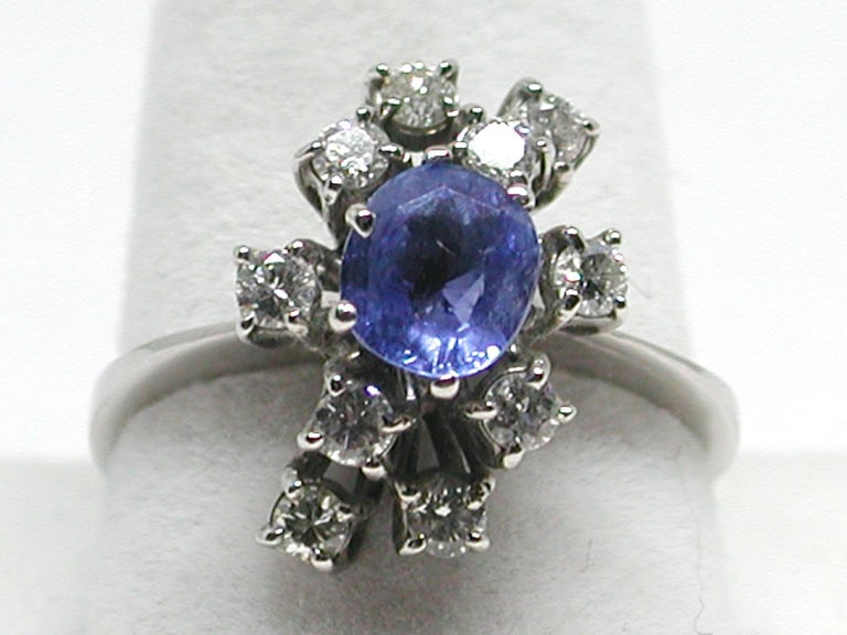 2.20 Carat White Gold Diamond Sapphire Engagement Ring For Sale 6