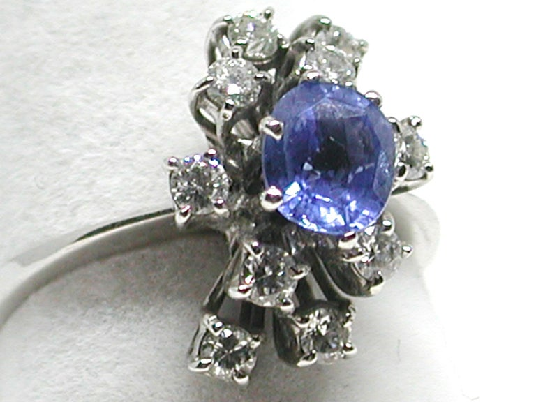 2.20 Carat White Gold Diamond Sapphire Engagement Ring For Sale 7