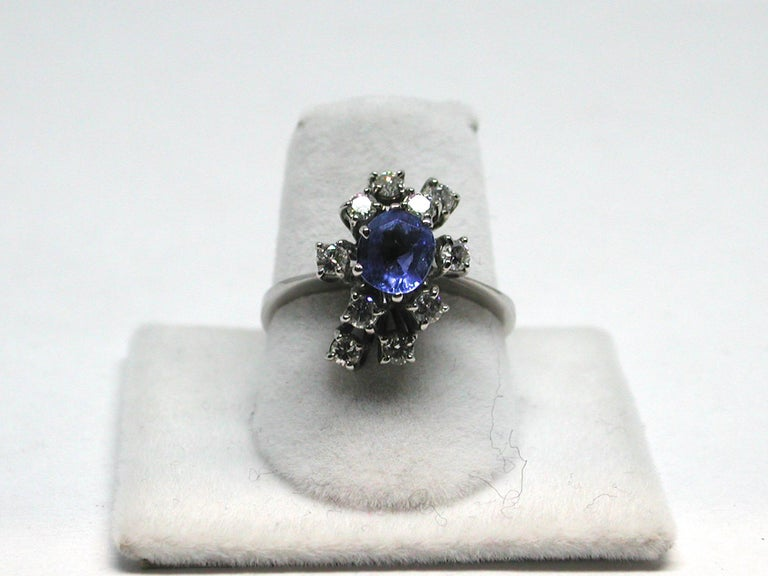 2.20 Carat White Gold Diamond Sapphire Engagement Ring For Sale 8