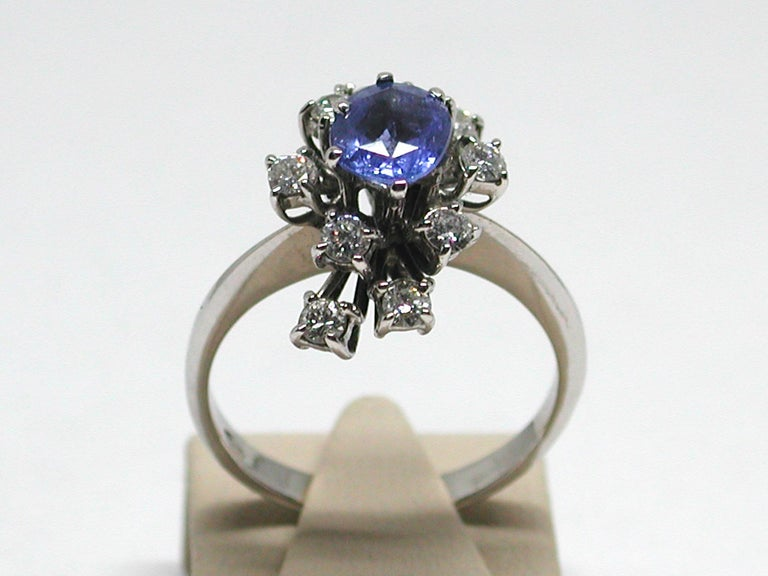 2.20 Carat White Gold Diamond Sapphire Engagement Ring For Sale 9
