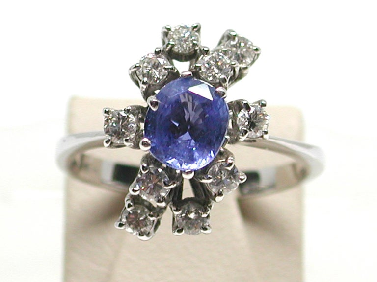 Contemporary 2.20 Carat White Gold Diamond Sapphire Engagement Ring For Sale