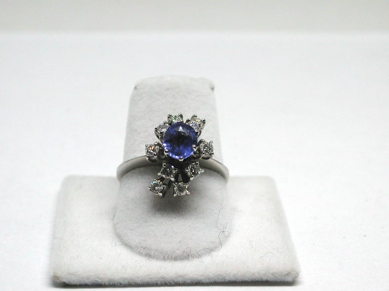 Round Cut 2.20 Carat White Gold Diamond Sapphire Engagement Ring For Sale