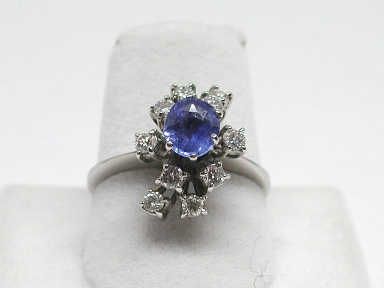 Women's 2.20 Carat White Gold Diamond Sapphire Engagement Ring For Sale