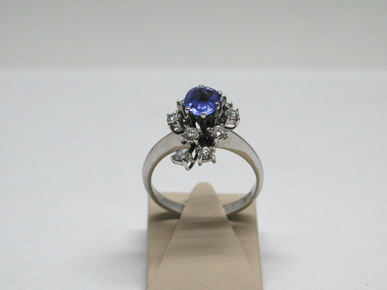 2.20 Carat White Gold Diamond Sapphire Engagement Ring For Sale 1