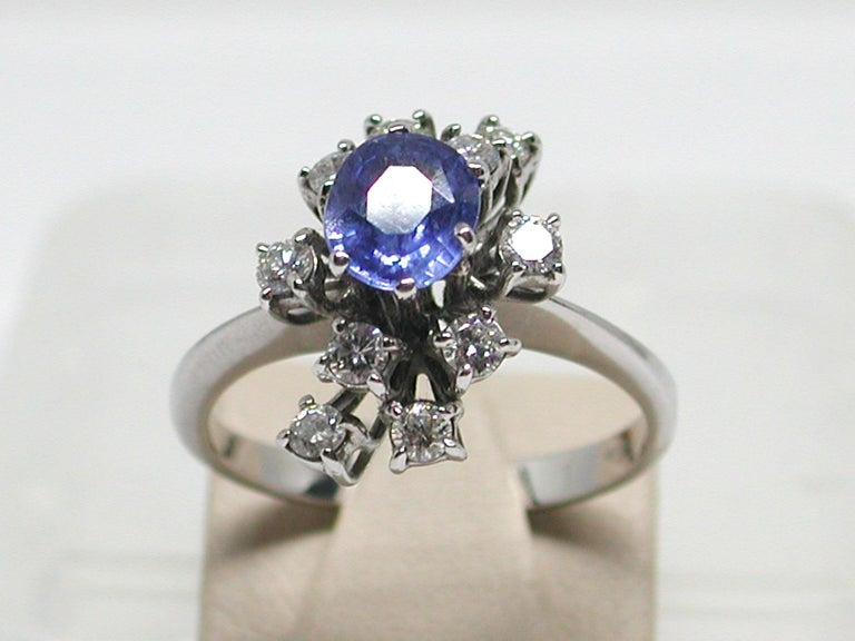 2.20 Carat White Gold Diamond Sapphire Engagement Ring For Sale 2