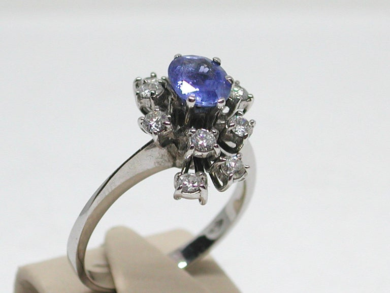 2.20 Carat White Gold Diamond Sapphire Engagement Ring For Sale 3