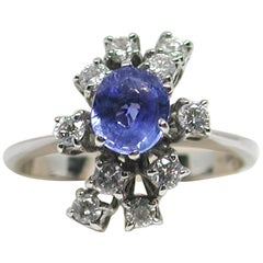2.20 Carat White Gold Diamond Sapphire Engagement Ring