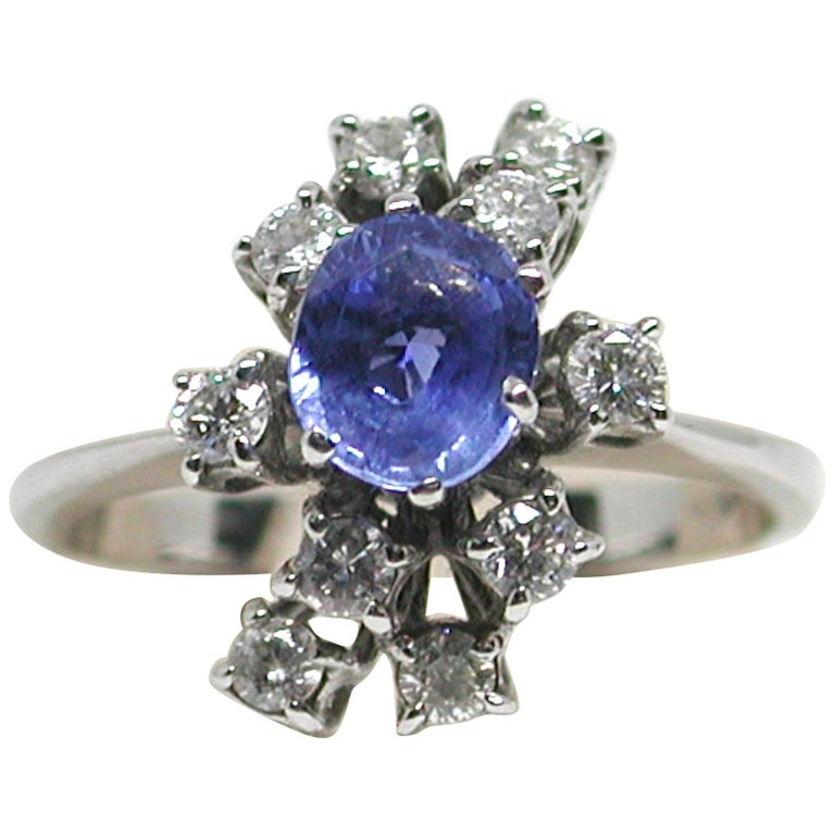 2.20 Carat White Gold Diamond Sapphire Engagement Ring For Sale