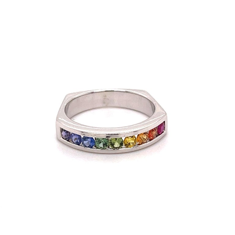 Vance Gem has been making multi-color Sapphire jewelry for the last 15 years.  On line, you will find a lot of different makers with a similar look. We only use very nice colored stones and all the pieces are done in 18-karat gold.   The ring in the