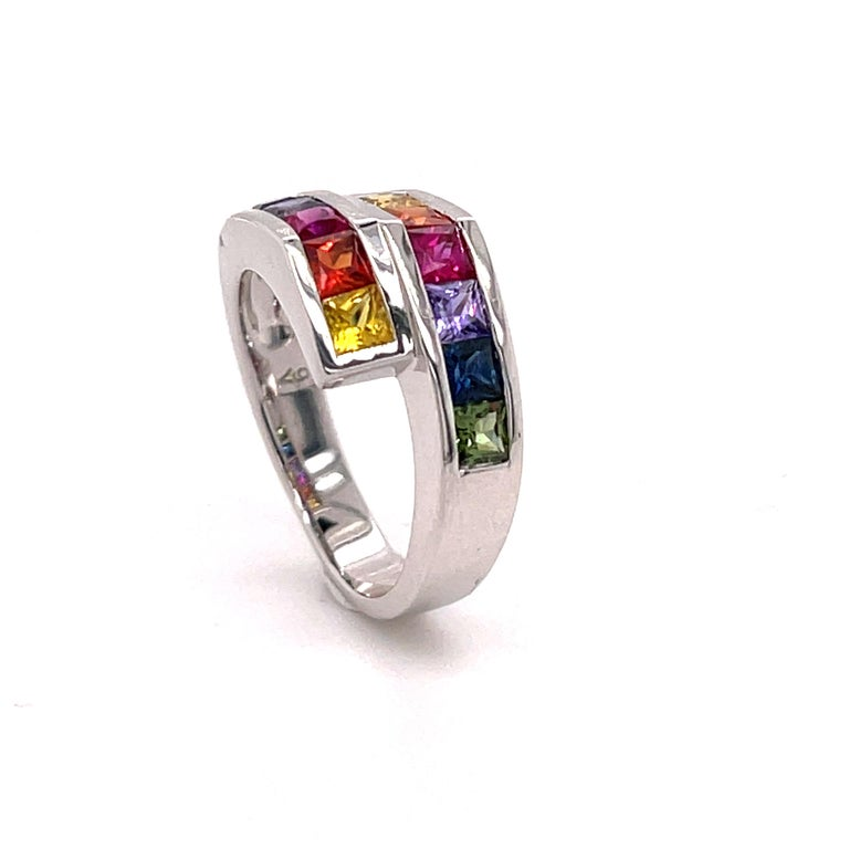 2..20 Carat Multi-Color Princess Cut Sapphire Ring in 18 Karat Gold In New Condition For Sale In Tucson, AZ