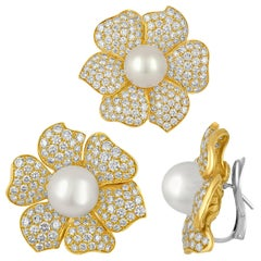 22.00 Carat Diamond South Sea Pearl Gold Flower Earrings and Pin Set