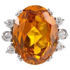 22.03 Carat Citrine and Diamond Ring