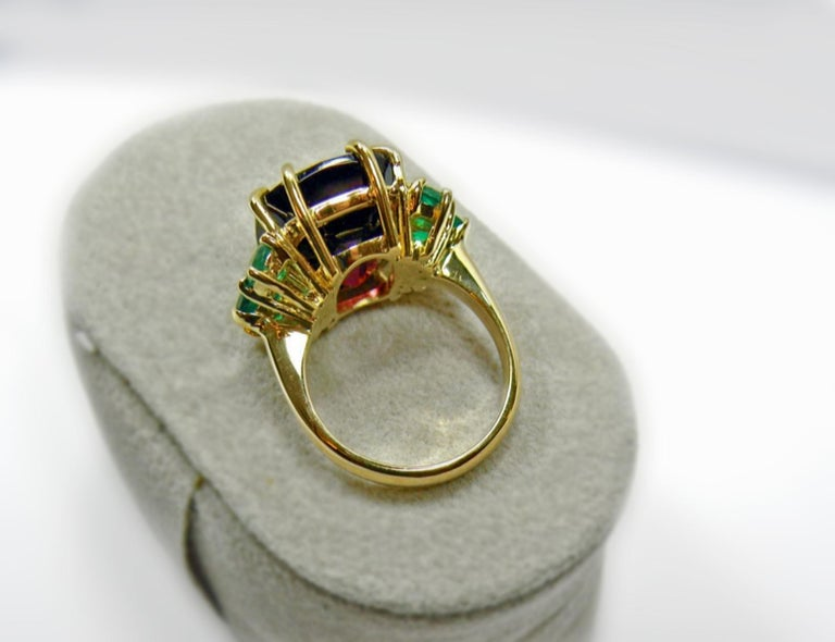 22.03 Carat Certified Fine Spinel Colombian Emerald Ring 18K For Sale 2