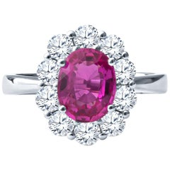 2.20ct Oval Pink Sapphire with 1.17ctw Round Diamond Halo Floral White Gold Ring