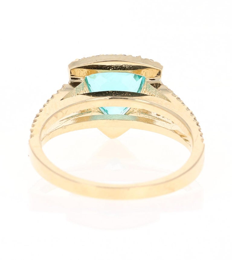 Trillion Cut 2.21 Carat Apatite Diamond 14 Karat Yellow Gold Cocktail Ring