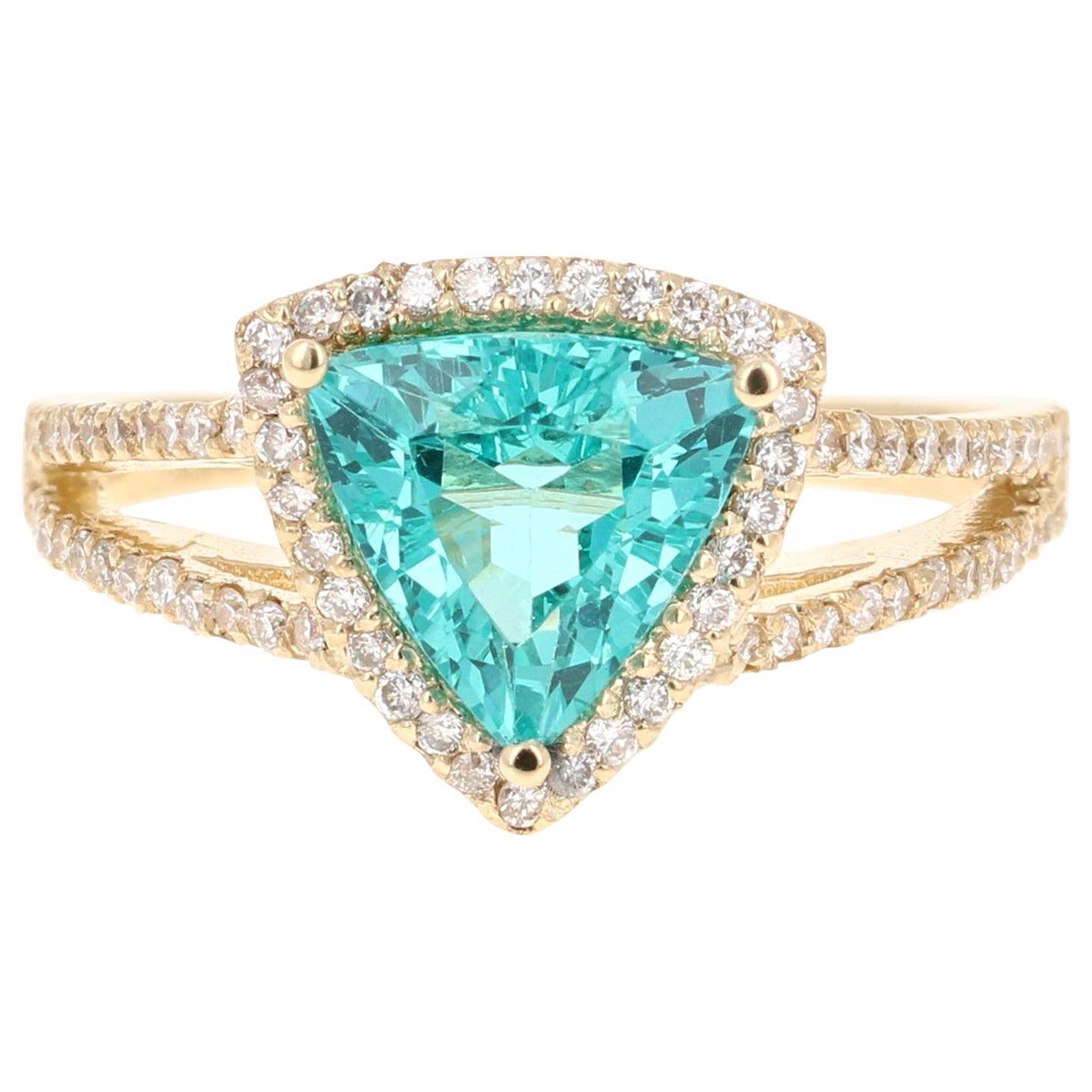 2.21 Carat Apatite Diamond 14 Karat Yellow Gold Cocktail Ring