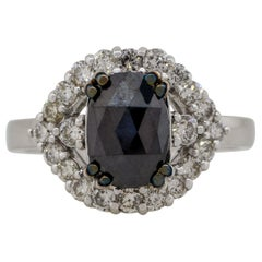 2.21 Carat Black and White Diamond Oval Halo Ring 18 Karat in Stock