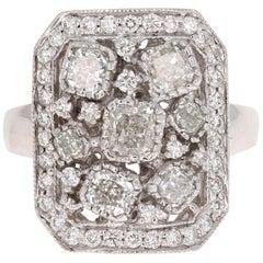 2.21 Carat Diamond Cocktail Ring 18 Karat White Gold