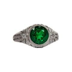 2.21 Carat Emerald and 1 Carat Diamond Ring, 18 Karat White Gold