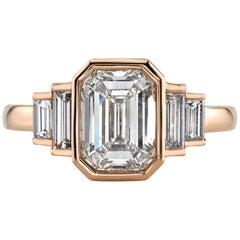 2.21 Carat GIA Certified Emerald Cut Diamond Set in an 18 Karat Rose Gold Ring