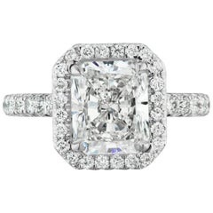 2.21 Carat GIA Certified GVS2 Radiant Cut Diamond Halo Ring