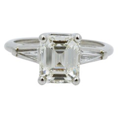 2.21 Carat GIA Emerald Cut Diamond Three-Stone Platinum Ring