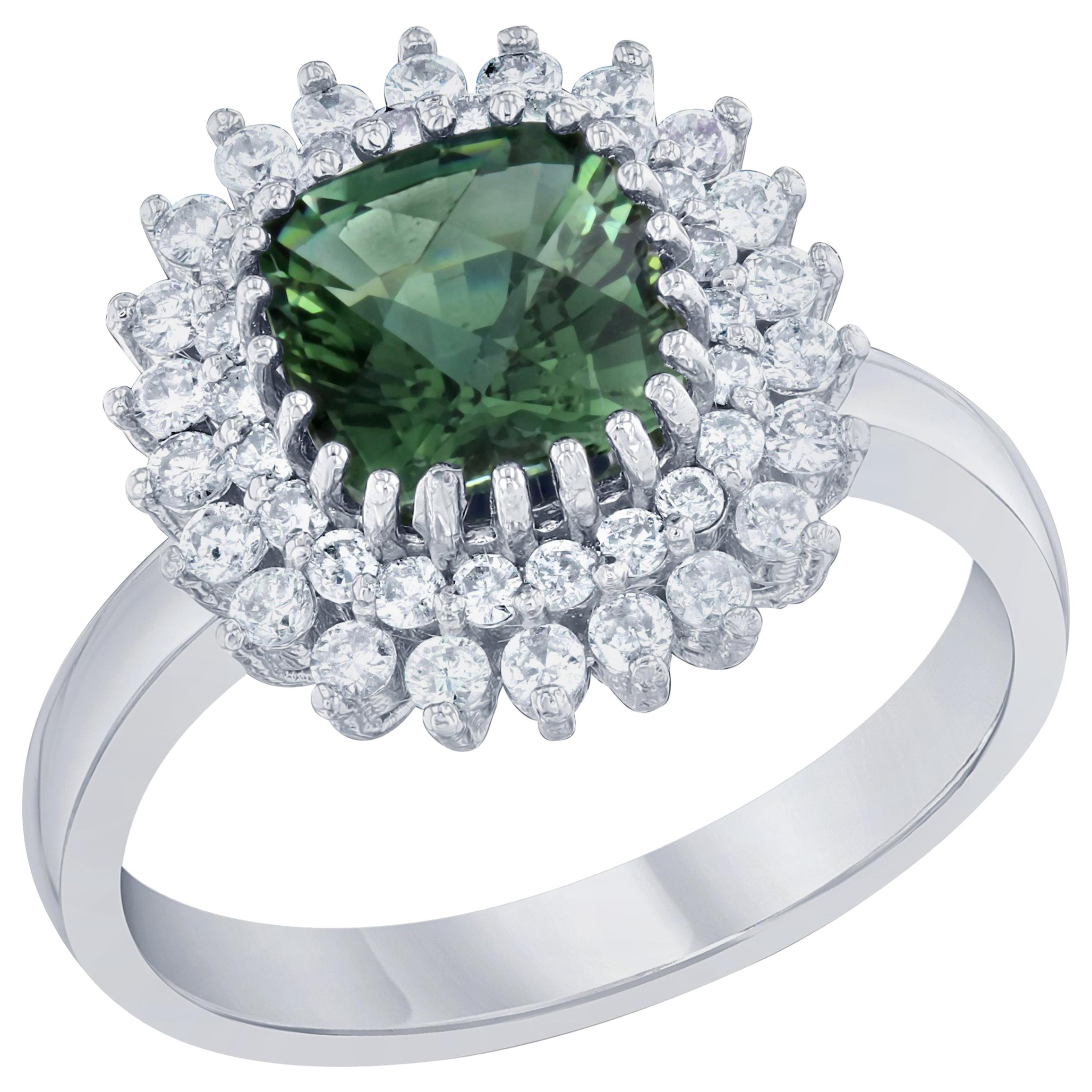 2.21 Carat Green Tourmaline and Diamond Ring 14 Karat White Gold