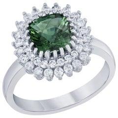 2.21 Carat Green Tourmaline and Diamond Ring 14 Karat White Gold