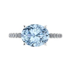 2.21 Carat Horizontal Oval Aquamarine and White Diamonds Pave Line Platinum