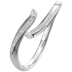 2.21 Carat Marquise Round Diamond 18 Karat White Gold Bangle Bracelet