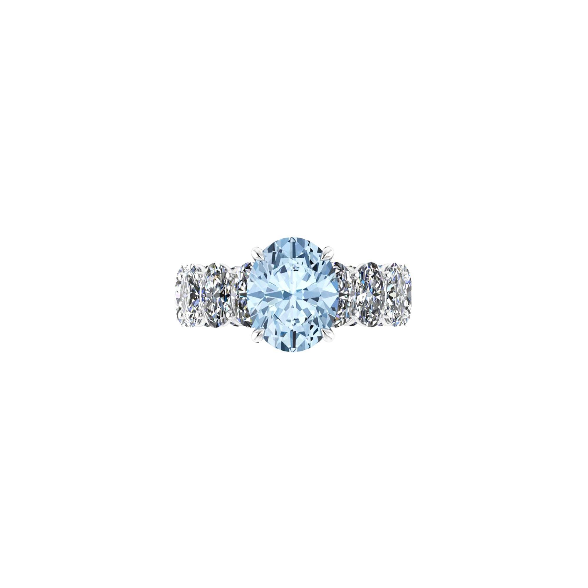 2.21 Carat Oval Aquamarine 5.1 Carat Oval Eternity White Diamonds Platinum 950