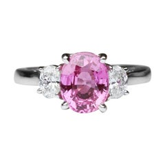 2.21 Carat Pink Sapphire and Diamond Platinum Ring Estate Fine Jewelry