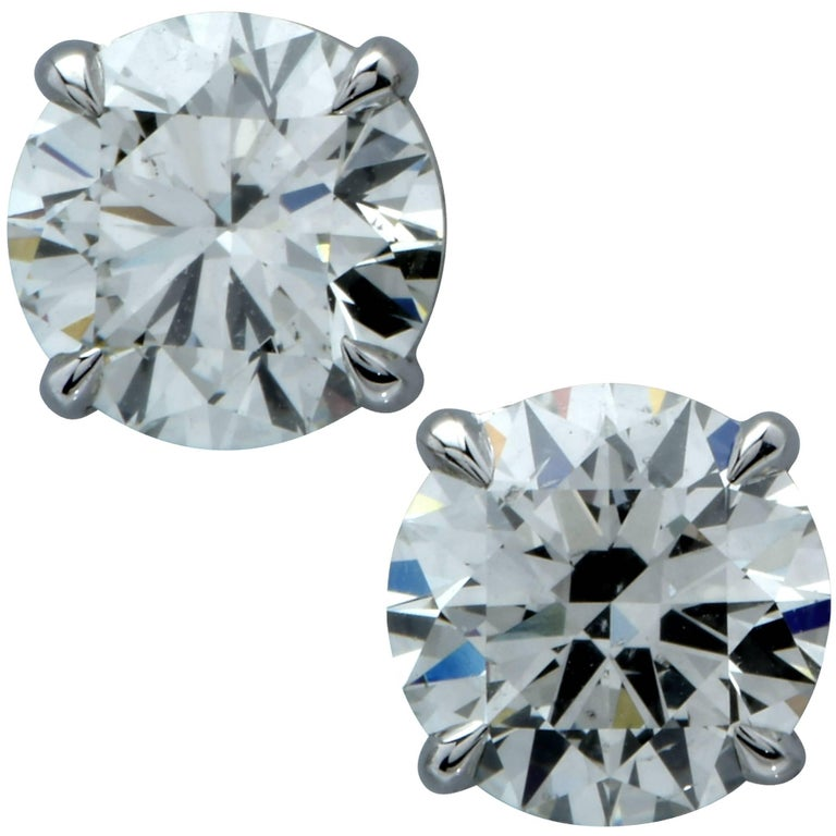 2.21 Carat Round Brilliant Cut Diamond Solitaire Stud Earrings