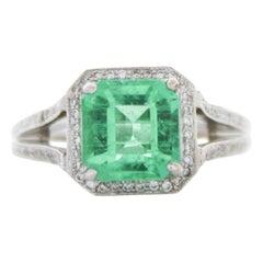 2.21 Carat Square Emerald Cut Emerald & Diamond Ring in 18k White Gold