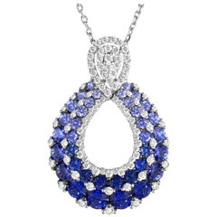 DiamondTown 2.21 Carat Vivid Blue Sapphire and Diamond Peacock Pendant