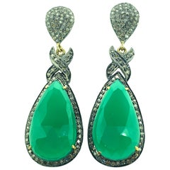 22.10 Ct Green Onyx 4.65 Ct Diamonds Sterling Silver 14k Gold Dangling Earring