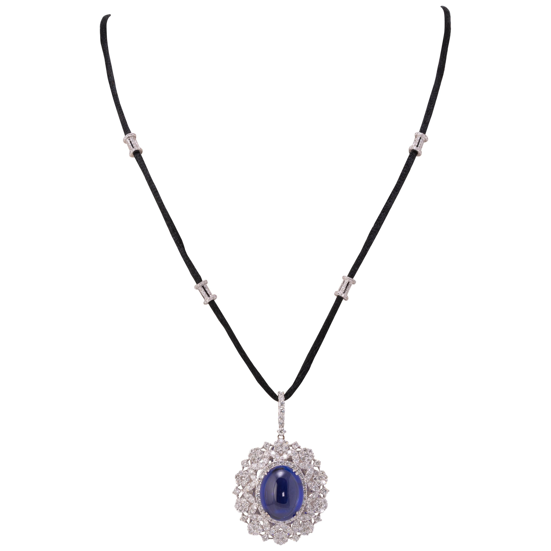 22.12 Carat Tanzanite Cabochon and Diamond Pendant Necklace