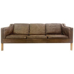 '2213' Leather and Oak 3-Seat Sofa by Børge Mogensen for Fredericia, Danish, 1