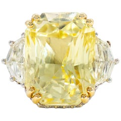 22.14 Carat Radiant Cut Yellow Sapphire and Diamond Ring in Platinum and 18 K