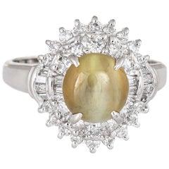 2.21ct Cat's Eye Chrysoberyl Diamond Ring Estate Platinum Certificate Jewelry