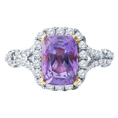 2.21ct Cushion Purple Sapphire and 0.87ctw Round Diamond Halo Two-Tone Gold Ring
