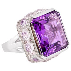 22.2 Carat Amethyst and Diamond Cocktail Ring in 18 Karat White Gold