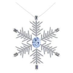 2.22 Carat Aquamarine 2.5 Carat Diamonds Snow Flake Pendant Necklace