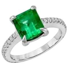 2.22 Carat Colombian Emerald and 0.32 Carat Diamonds in 14 Karat White Gold Ring