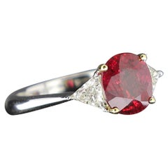 2.22 Carat Cushion Ruby Ring Three-Stone Ruby and Diamond Rings 18K White Gold